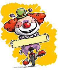 Clown on Unicycle Holding a Label