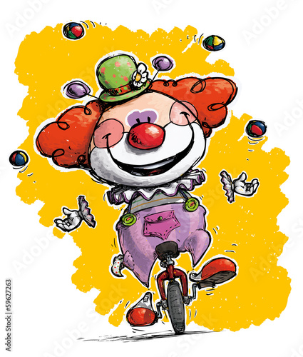 Clown on Unicycle Juggling