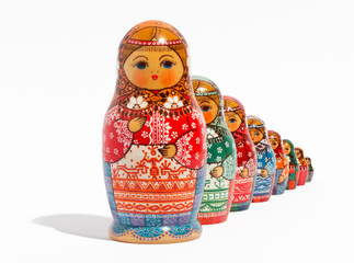 Close-up of traditional Russian matryoshka dolls