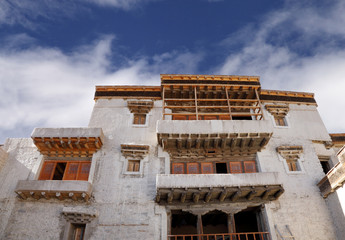 Windows and balcony of ancient leh Palace