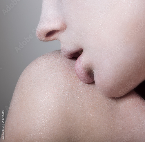 Closeup Tempting Woman's Face with Opened Mouth. Craving. Desire