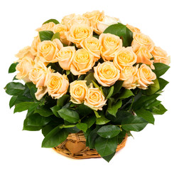 Natural beautiful roses in a basket