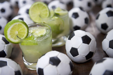 Two Fresh Lime Caipirinhas Brazilian Soccer Balls