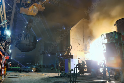 steel works, charging of a furnace
