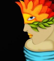 viso di donna con maschera