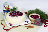 Lemon biscuit cake with cranberries