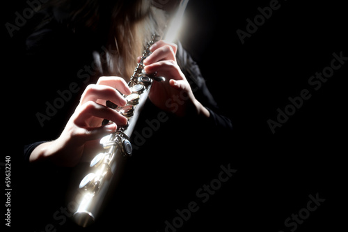 Leinwandbild Motiv Flute music instrument flutist playing