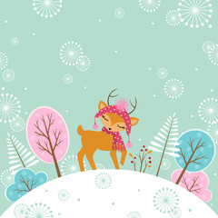 Cute winter deer