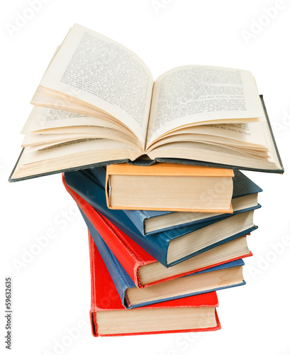 open book on top of stack of books