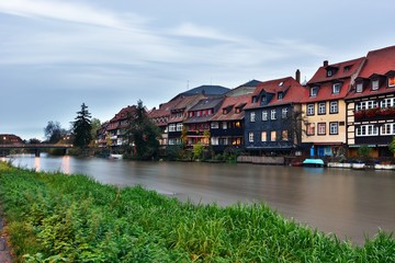 River and  exteriors of houses in Bamberg, Germany.