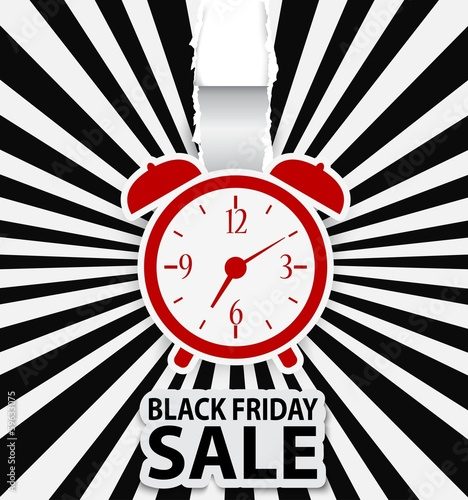 Black friday sale design with alarm clock