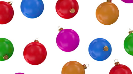Falling Colorful Christmas Balls Looping Video Clip with Alpha