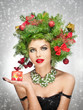 Beautiful creative Xmas makeup and hair style indoor shoot.