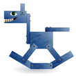 Blue wooden horse.