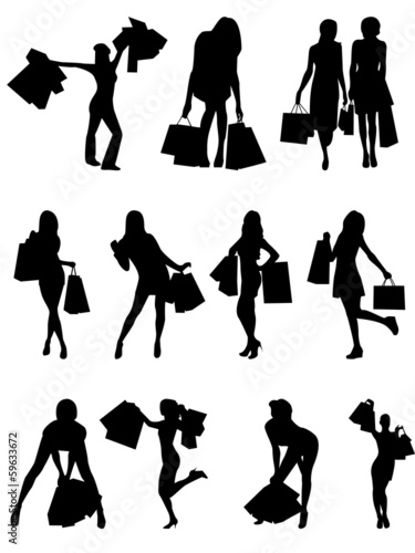 Shopping family and girls silhouettes .
