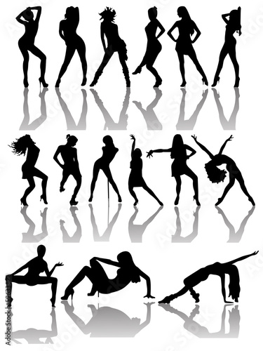 Set of Silhouettes of Dancing Couple and Girls.
