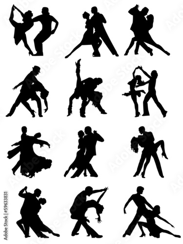 Set of Silhouettes of Dancing Couple .