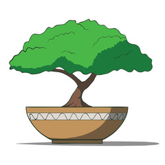 Vector Illustration of colorful bonsai tree isolated on white