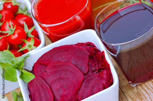 Beet and tomato juice