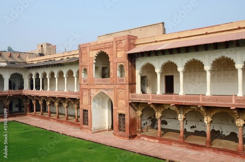 Beautiful architecture of Agra fort,famous landmark,India