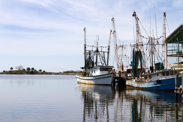 Docked Shrimpers Boats