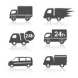 Vector truck symbols, delivery within 24 hours, car icons
