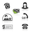 Vector contact, call icons - phone symbols  with shadow