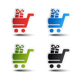 Vector simple shopping cart, trolley with gift, item, button
