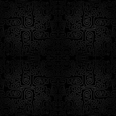 Vector black seamless ornament background - wallpaper, labyrinth