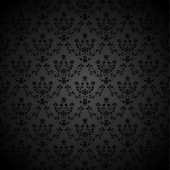Vector black seamless background with flower, crown, star, leaf