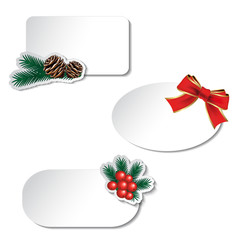 Vector paper white Christmas labels with bow and twig - EPS 10