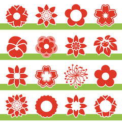 Vector set of blooming flowers - symbol, icon of flower