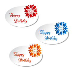 Vector white labels with flower - Happy Birthday card