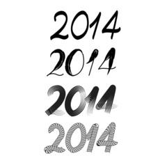 Vector various font - happy new year 2014