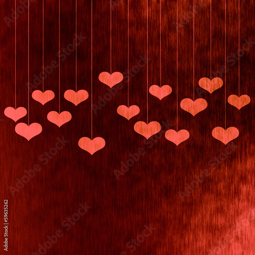 Valentine's card, red background with hearts