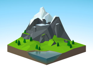 Paysage montagneux 1 low poly