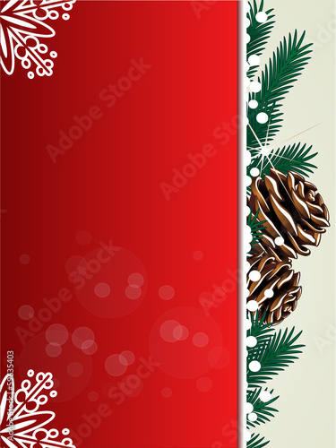Vector Christmas background, red card, twigs and snowflakes