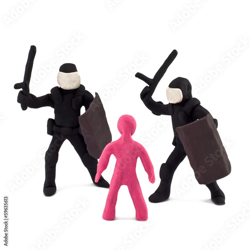 Plasticine police beating children
