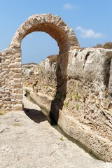 Ancient irrigation ditch and arch in Nahal Taninim in Israel
