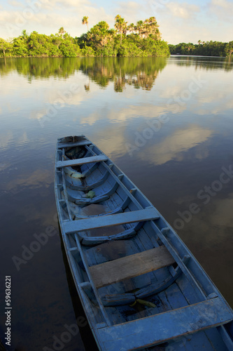 Calm Brazilian River Boat Rural Brazil