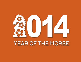 2014 Chinese Horse Paper Cut Out Vector Illustration