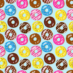 Seamless vector pattern of assorted doughnuts with different top
