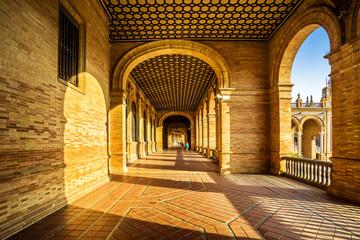 Arcades of the Spanish Square (Plaza de España) in Sevilla,Spain