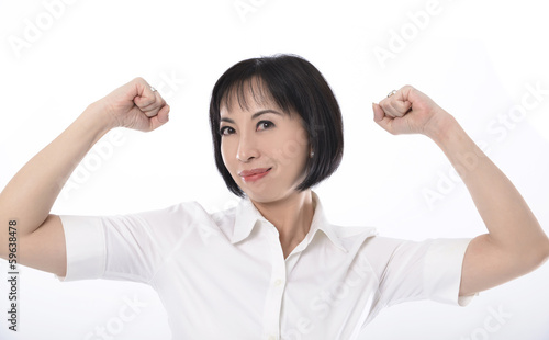 portrait of happy excited girl with arms extended