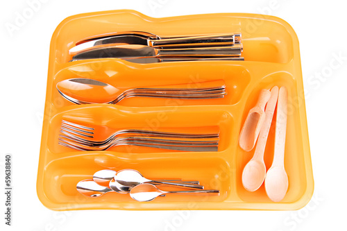 Orange plastic cutlery tray with checked silver cutlery and