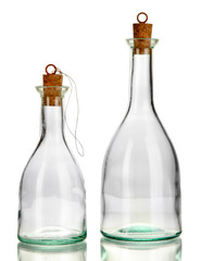 Original glass bottles isolated on white