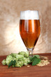 Glass of beer and hops, on wooden table