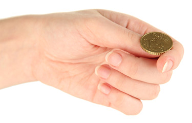 Hand of woman flipping coin isolated on white