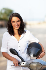 woman with helmet