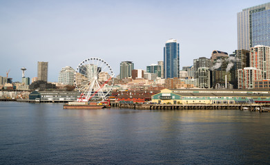 Waterfront Piers Dock Buildings Ferris Wheel Seattle